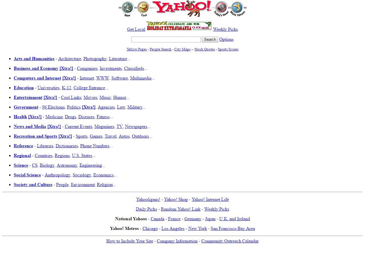 Internet et Yahoo en 1996