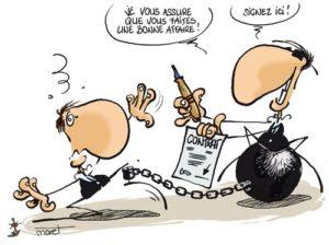 dessin deux personnages contrat assurance